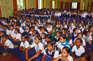 Children watching film Keshu at the inaugural ceremony of Chidren's Film Shows held at SKMJ High School Kalpetta on 5-02-2015